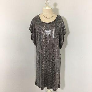Michael Kors sequin dress snakeskin print size M